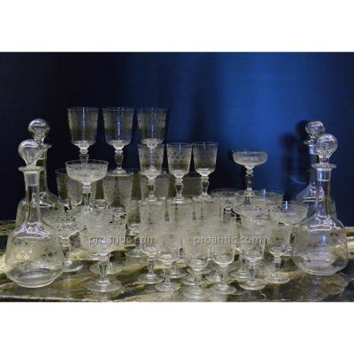 Service De Verres Et Carafes En Cristal Gravé vers 1900