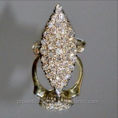 Bague Marquise En Or Sertie De Diamants