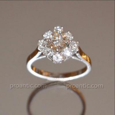 Bague Marguerite Or Blanc Et Diamants