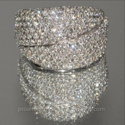 Bague Double Bandeaux Or Blanc Et Diamants