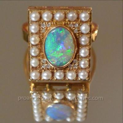 Opal Ring Pink Gold, Diamonds And Pearls