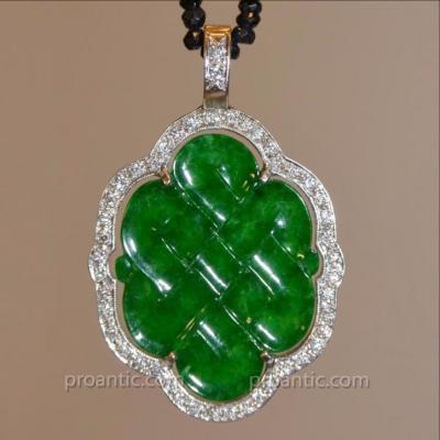 Pendentif Jade Impérial Monture Or et Diamants