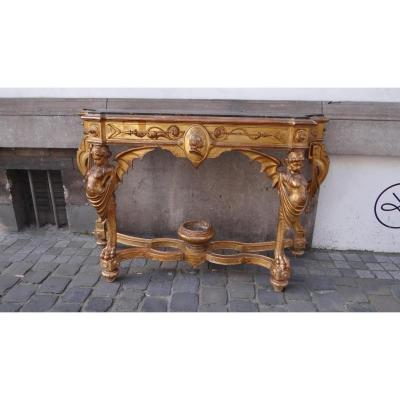 Large Italian Console In Golden Wood