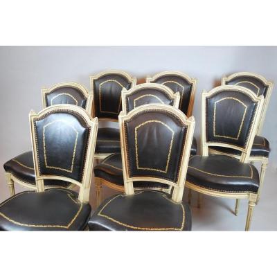Suite De 8 Chaises De Style Louis XVI