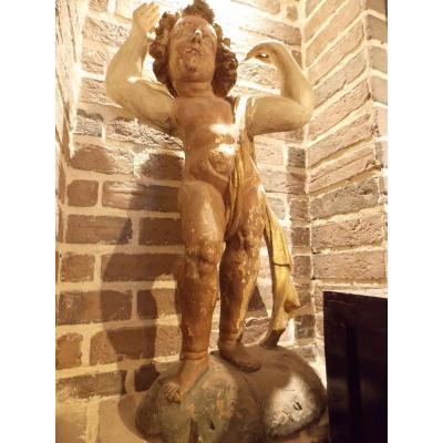 Statue En Bois Polychrome 18ème