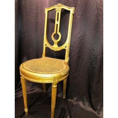 Chair In Golden Wood Louis XVI Style