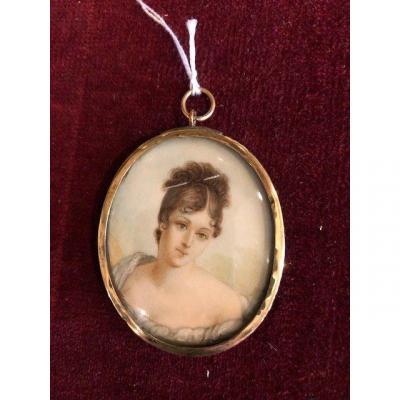 Miniature On Ivory Pendant