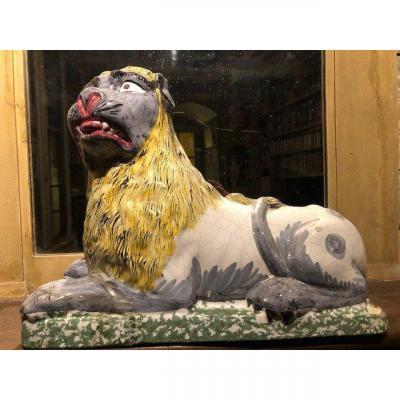 Lion Faïence Lunéville 19ème