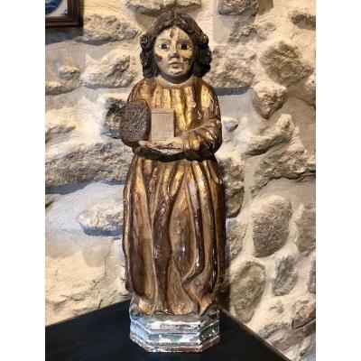 Statue En Bois Doré 17ème Siècle