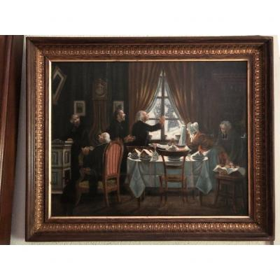 The Meal Of The Priests Oil On Canvas From The 19th Century
