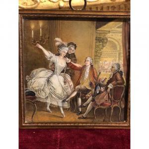 Scène Galante à l'Opéra Gouache Sur Ivoire
