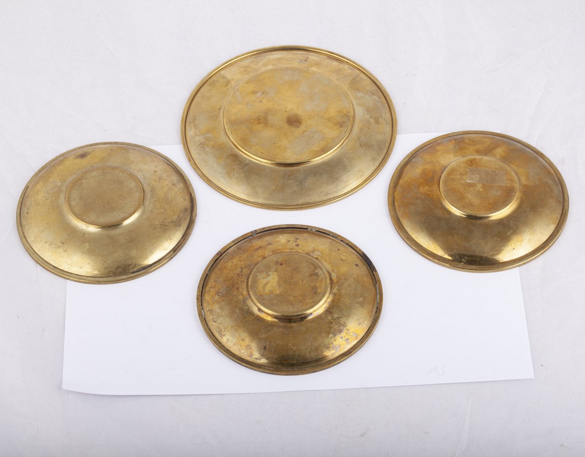 4 Assiettes En Bronze Et Argent Massif De Lalaounis-photo-2