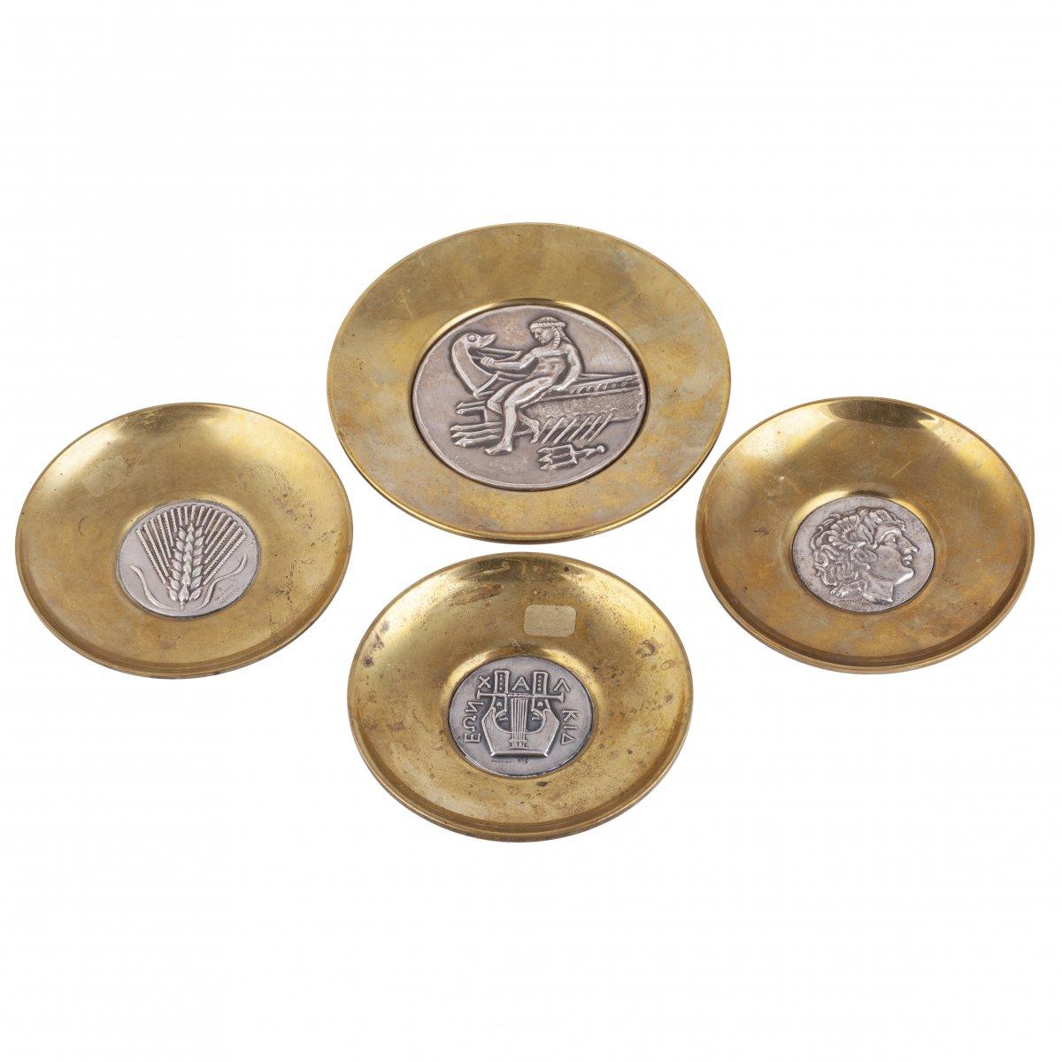 4 Assiettes En Bronze Et Argent Massif De Lalaounis