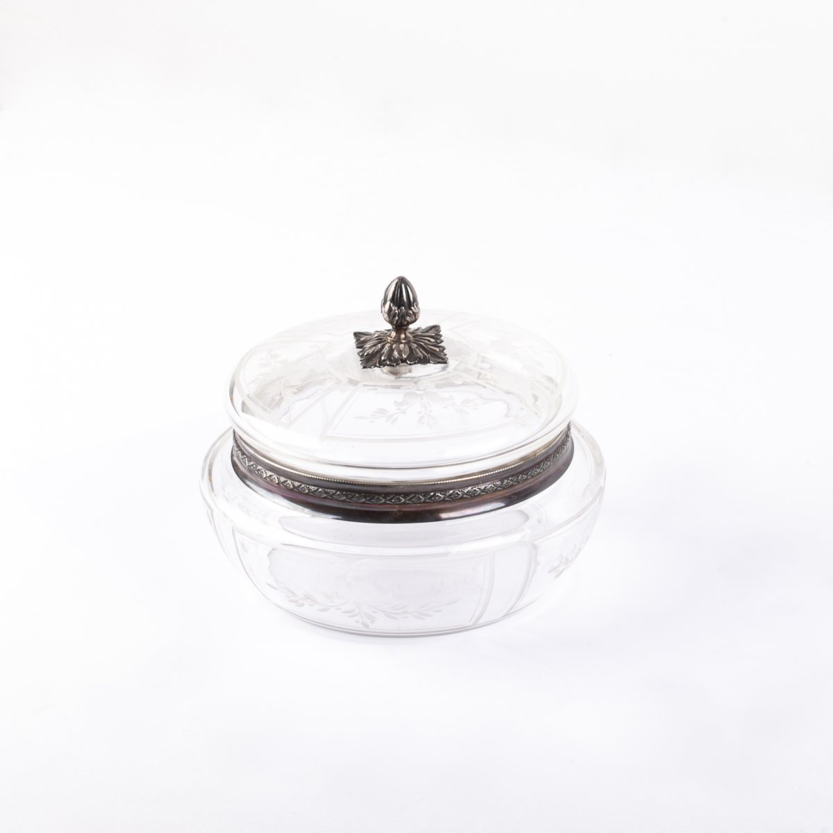Belle Boîte Bonbonnière en Cristal et Argent Massif