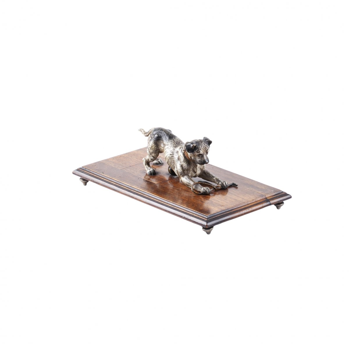 """Vienna Bronze Paper Clip And Letter Holder Of """"The Dog"""" On Wooden Stand"""
