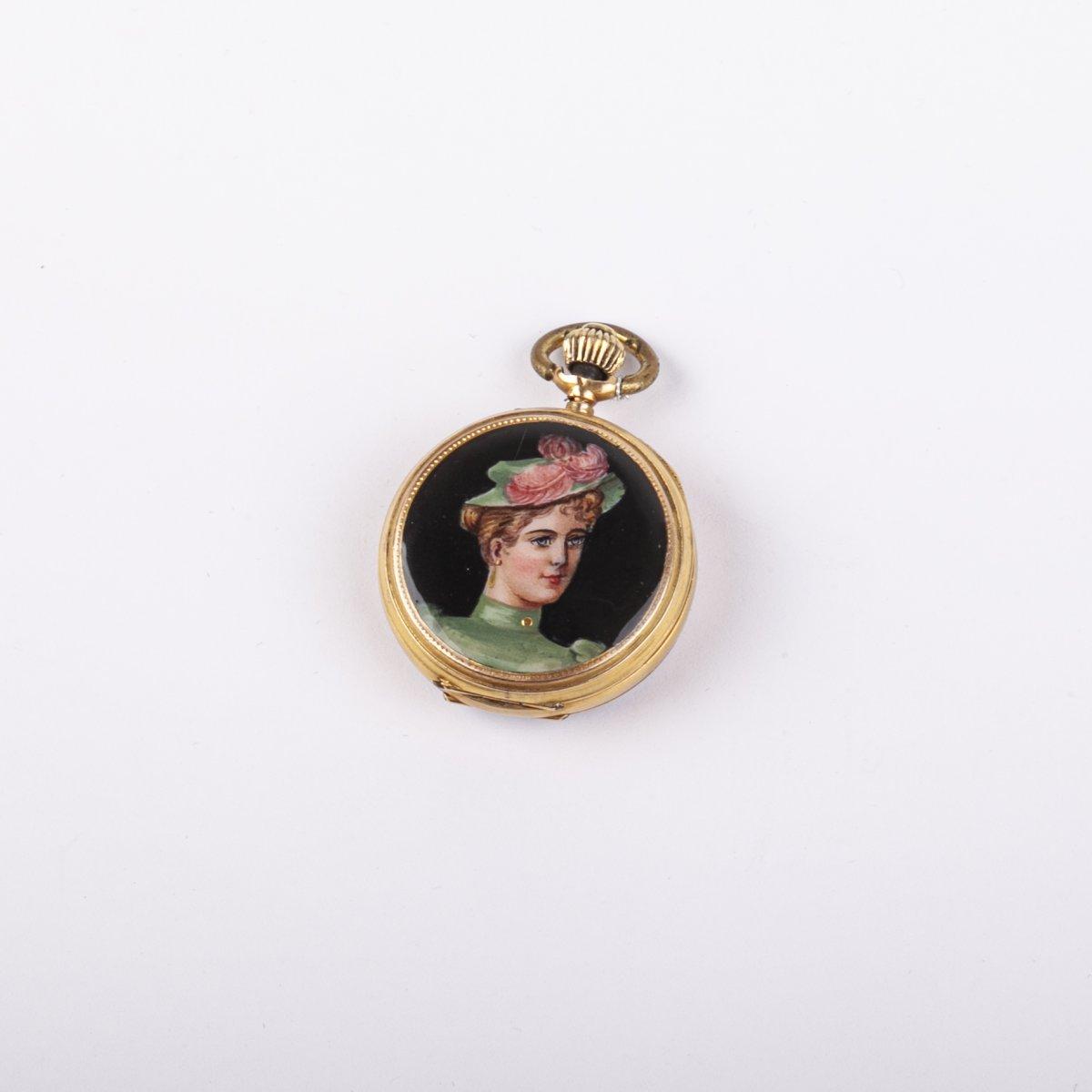 12k Gold Open Face Pocket Watch With Enamel