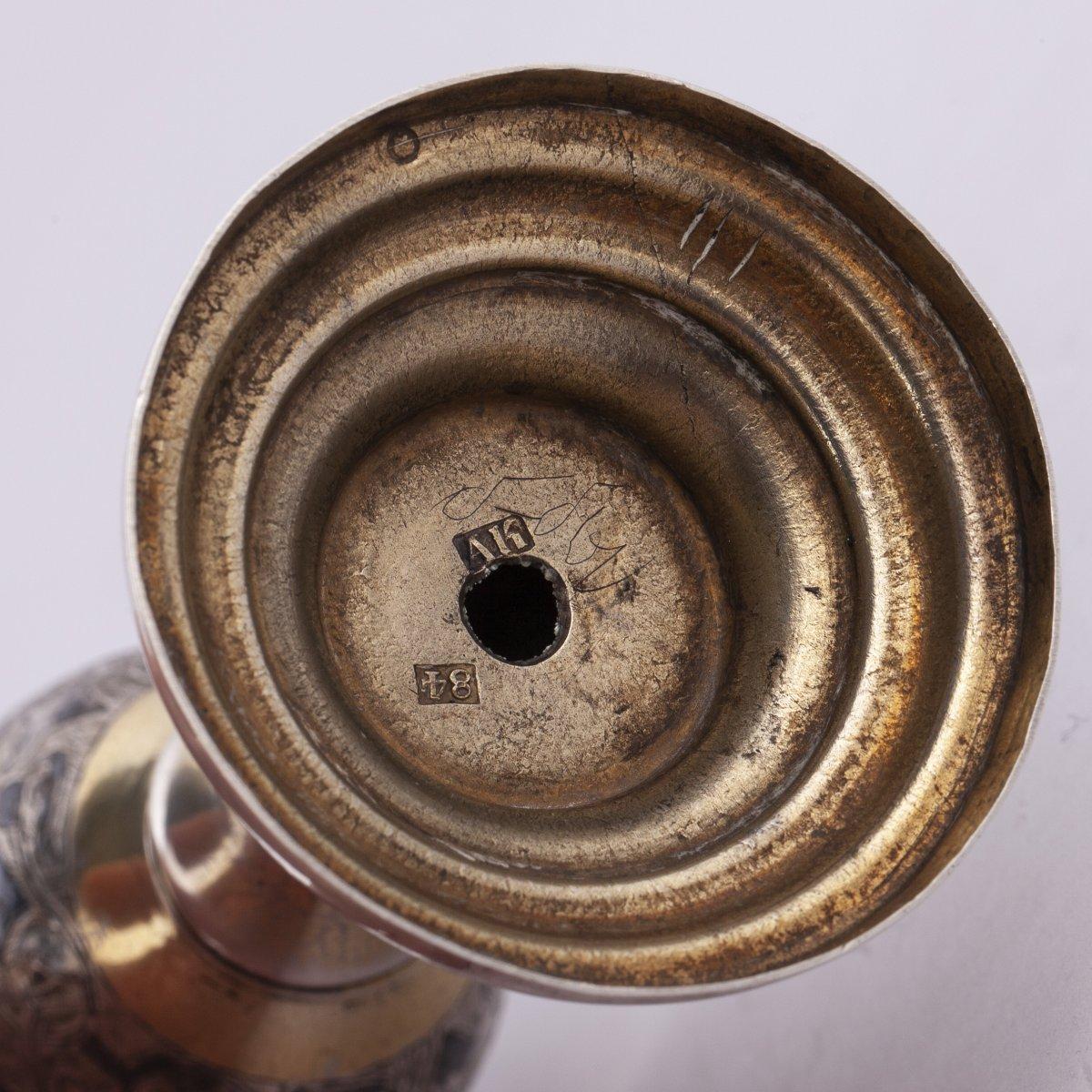 Une Flûte à Champagne Russe En Argent Massif Nielle