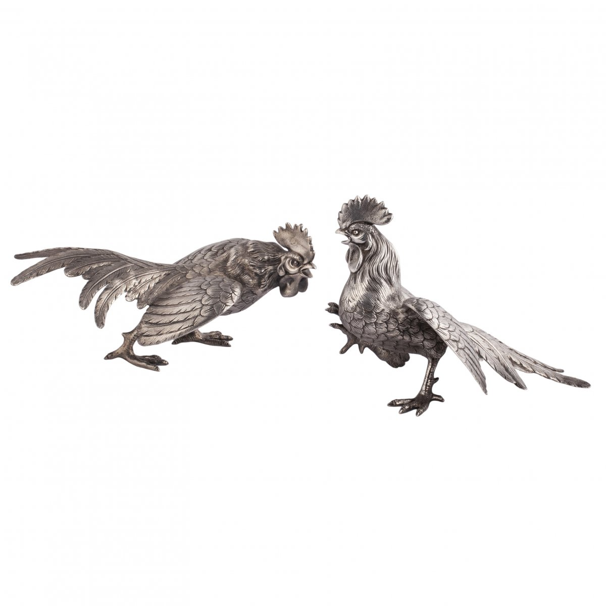A Pair Of Gamecocks' Figurines