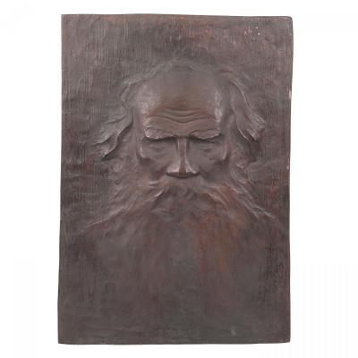 Cast Bronze Plaque With Leo Tolstoy's Bas-relief