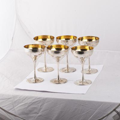 Gilded Silver Cocktail Glasses Set