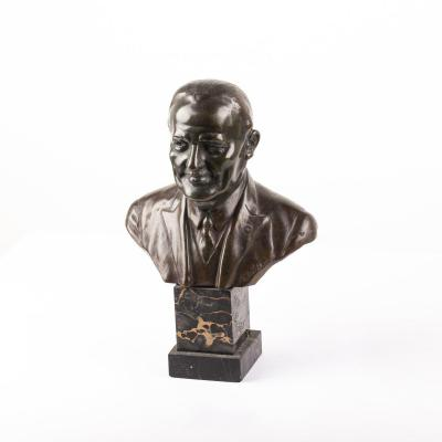 Bronze Bust by Serge Zelikson On Marble Stand