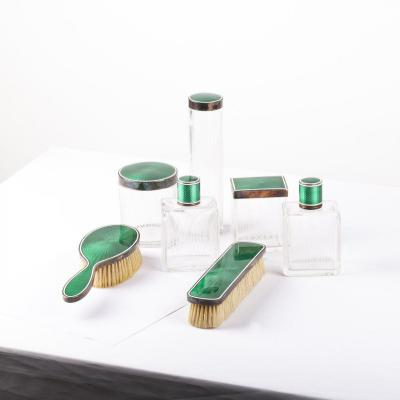 Silver, Glass And Guilloche Enamel Vanity Set 7pcs France