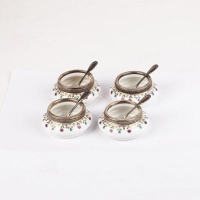 Silver And Porcelain Salt Cellars 4 Pieces