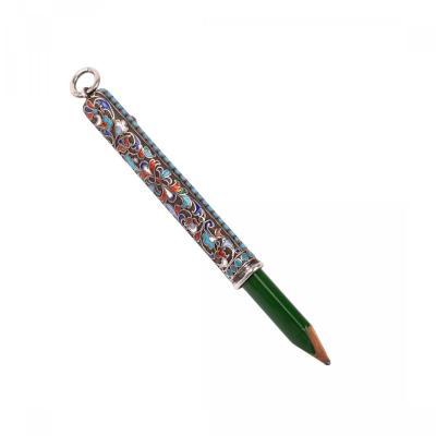A Russian Silver An Enamel Pencil Holder