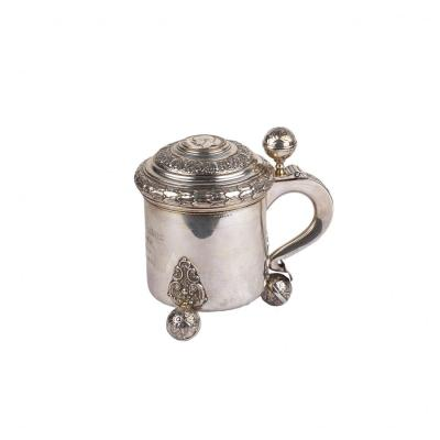Massive Silver Mug With Coin Cast In Sweden 1939