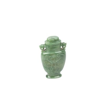 Chinese Jade Stone Vase With Lid
