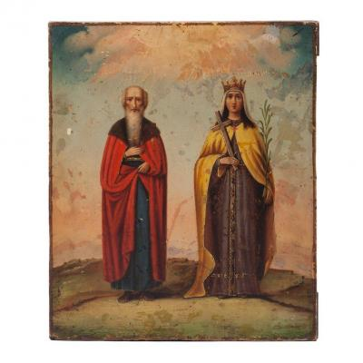 Russian Icon Of Saint Nicholas And Saint Helena