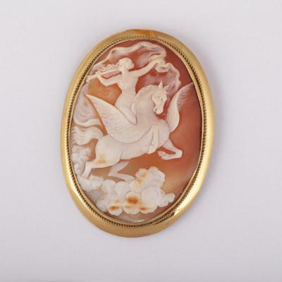 Silver Gilt And Shell Cameo Brooch