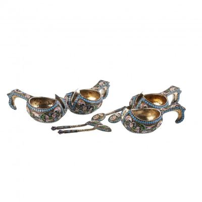 A Set Of 4 Russian Silver-gilt And Enamel Kovshs