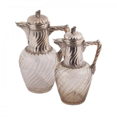 A Pair Of French Silver Mounted Claret Jugs