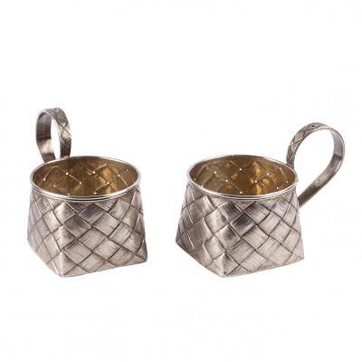 A Pair Of Russian Silver Trompe l'Oeil Tea Glass Holders
