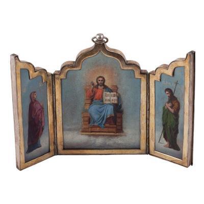 Russian Folding Icon Of Deisis