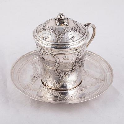 French Silver Cup On A Saucer, 18th Century