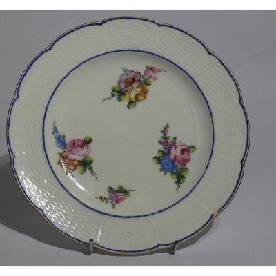 Sevres - Tender Porcelain Plate Decorated With Bouquet Of Flowers