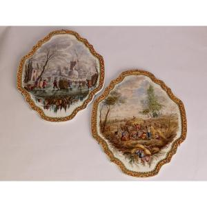 Two Faience Plate Peasant Scene