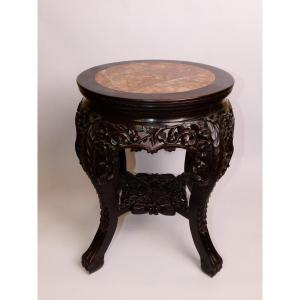 Selette In Wood And Chinese Marble Top XIX