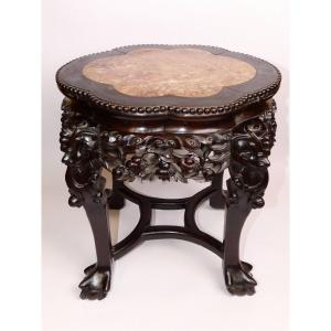 Selette In Wood And Chinese Marble Top XIX 2nd Model
