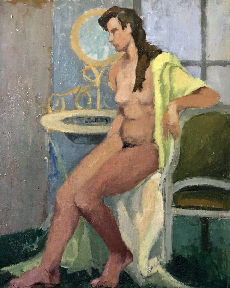 Nude In Yellow Bathrobe Old Table