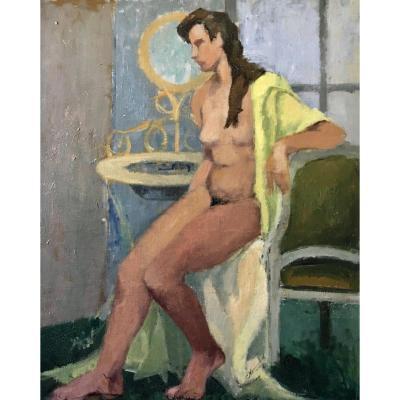 Nude In Yellow Bathrobe Old Table