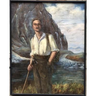 «l'alpiniste» Tableau Ancien