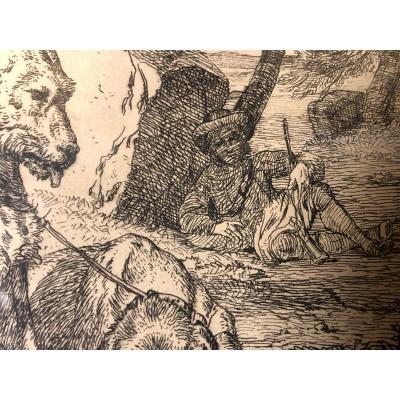Gravure Ancienne «le Repos du chasseur»