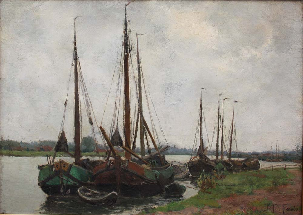 Sailboats On The Shore By Burchard Theodoor Paets (holland, 1872-1938)-photo-2