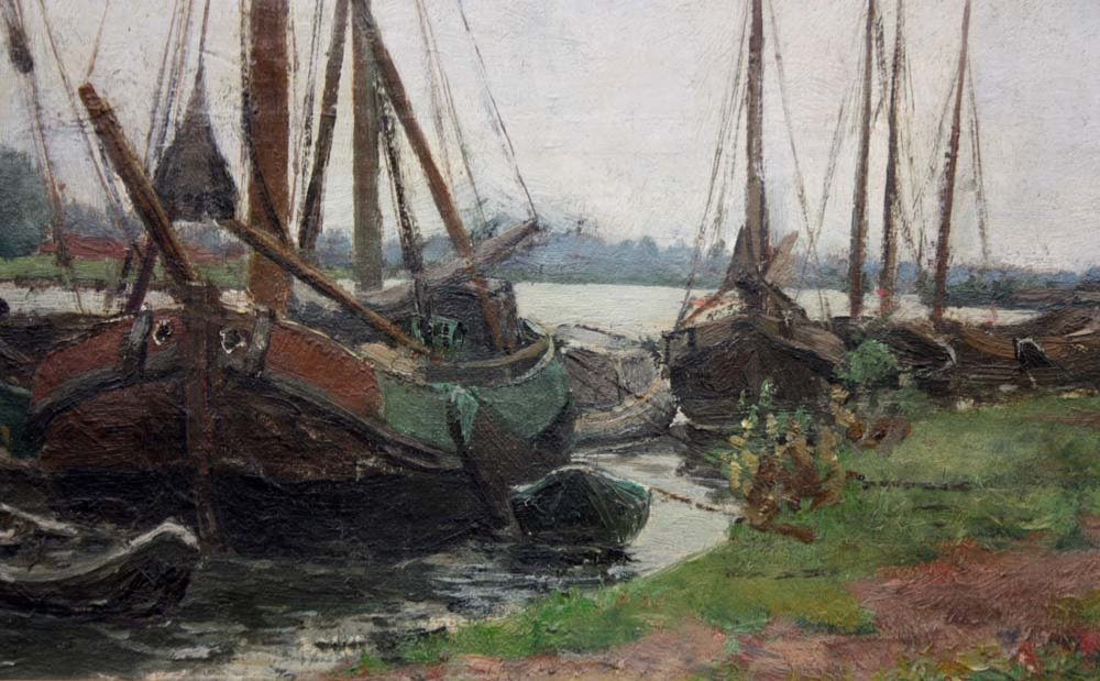 Sailboats On The Shore By Burchard Theodoor Paets (holland, 1872-1938)-photo-1