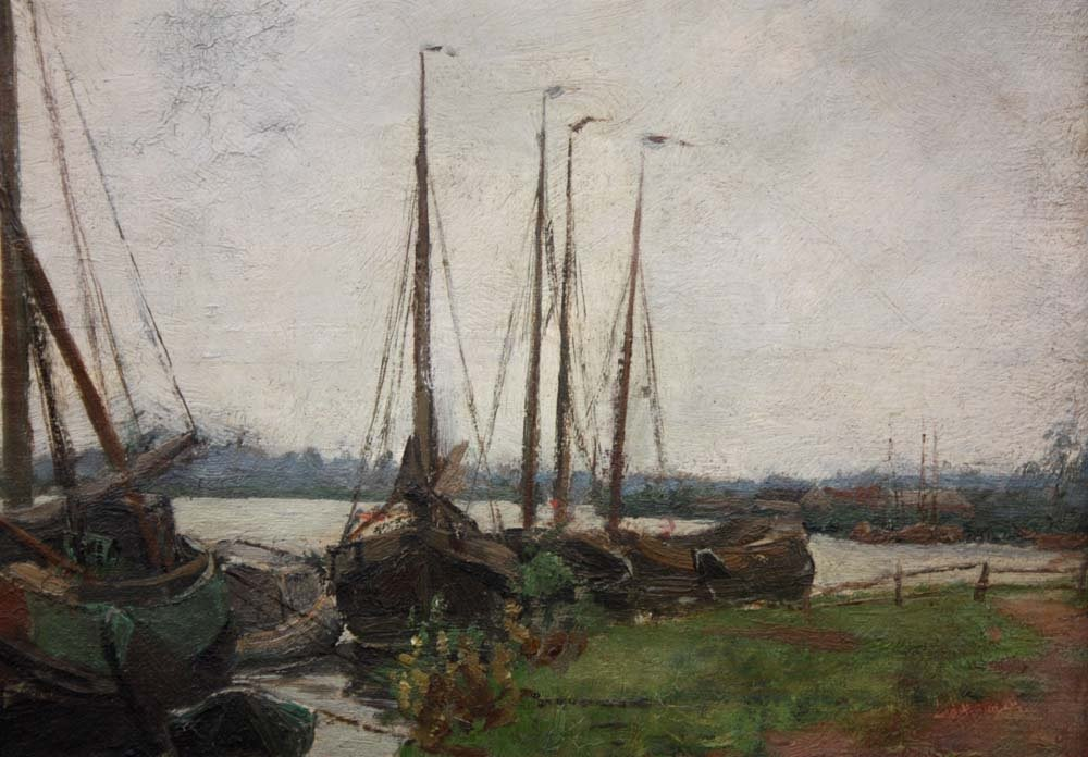 Sailboats On The Shore By Burchard Theodoor Paets (holland, 1872-1938)-photo-3