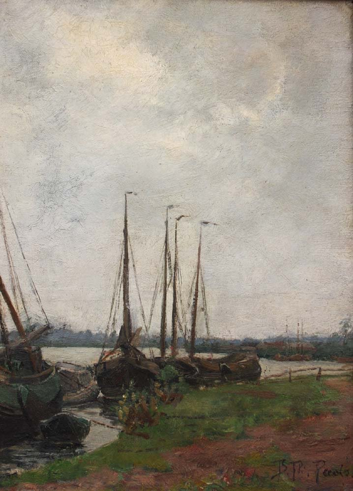 Sailboats On The Shore By Burchard Theodoor Paets (holland, 1872-1938)-photo-4