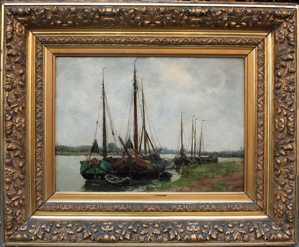 Sailboats On The Shore By Burchard Theodoor Paets (holland, 1872-1938)